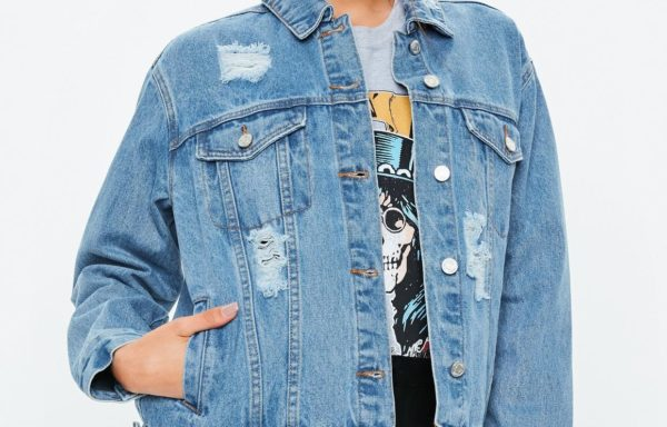 Blue Light Wash Oversized Boyfriend Denim Jacket